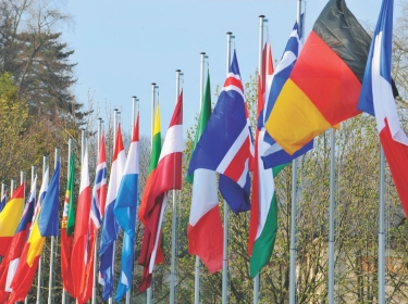 NATO flags fly at summit meetings of Heads of State and Government in Strasbourg, France