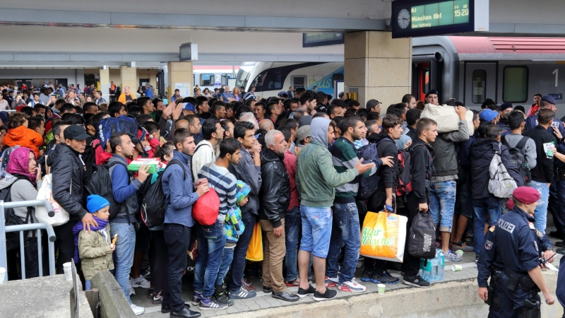 Wien Westbahnhof railway station on 5 September 2015: migrants on their way to Germany