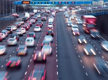 Rush hour on the A38(M) urban motorway at Aston, Birmingham, UK.
