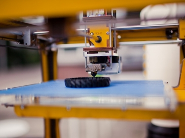 Close-up of 3D printer in action