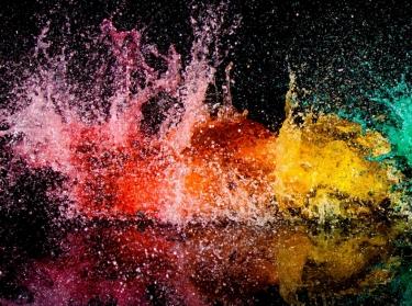 rainbow paint explosion