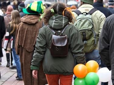 Irish crowd walking