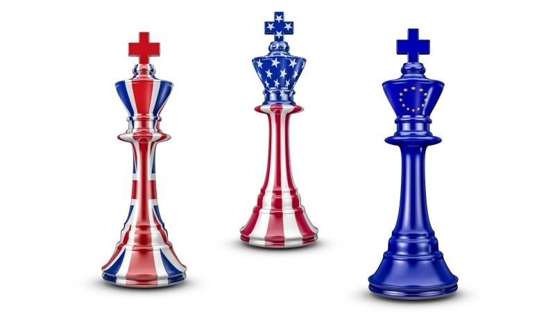 British, US, and EU chess pieces