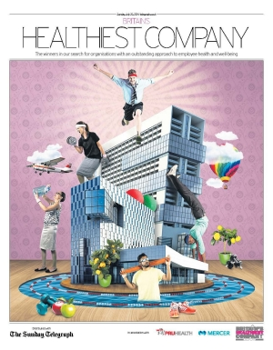 Cover of Sunday Telegraph supplement announcing the 2014 Britain's Healthiest Company results