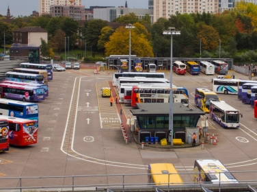Buses in Buchanan Bus Station in Glasgow, Scotland