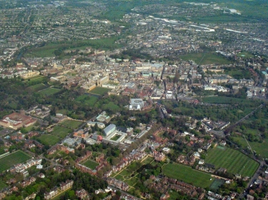 Aerial view of Cambridge UK city centre from the west
