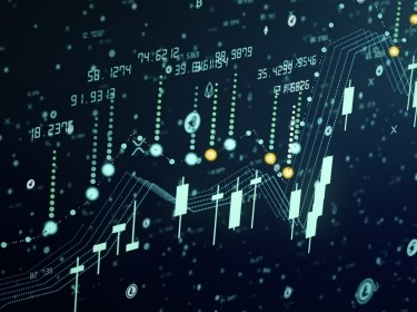 Futuristic digital business cryptocurrency candle chart, illustration by Eduard Muzhevskyi/Adobe Stock