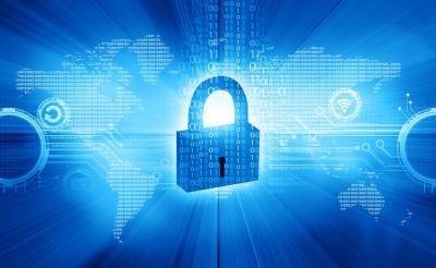 Global internet security illustration