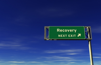"""Road sign for """"Recovery - next exit"""""""