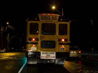Early morning school bus