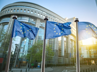European union flag against parliament in Brussels
