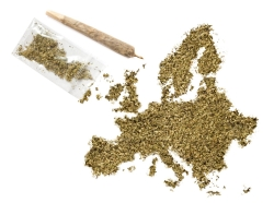 Marijuana in the shape of Europe and a joint