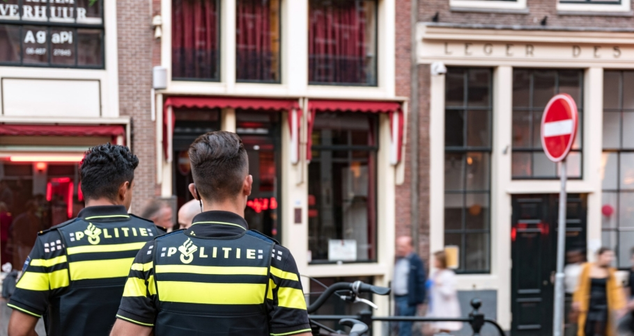 Dutch police on security patrol