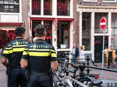 Dutch police on security patrol