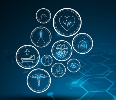Futuristic health care imagery and icons
