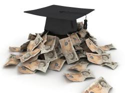 graduation cap and british pounds