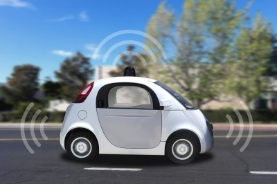 Autonomous self-driving driverless vehicle with radar on the road