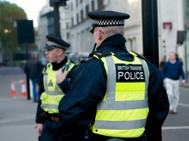 Two police officers of British Transport during a demonstration in central London, November 9, 2011