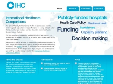 screenshot of IHC website