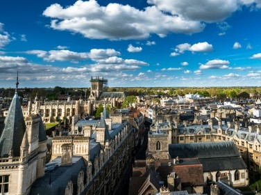 High angle view of the city of Cambridge, UK, photo by offcaania/AdobeStock