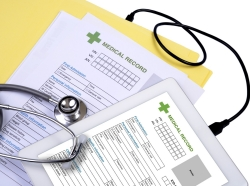 Health information from medical record file link to show on tablet
