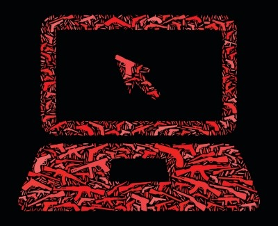 Laptop and cursor with a gun icon pattern