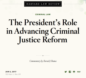 The President's Role in Advancing Criminal Justice Reform