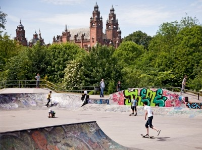 Boys at the skateboard park in the West End of Glasgow