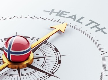 design concept with Norway compass pointing toward health