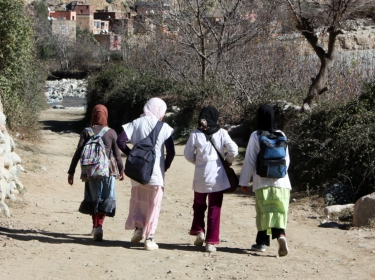 Moroccan girls walking to school
