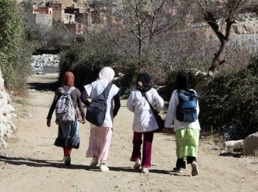 Moroccan girls walking to school