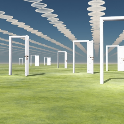 Many open doors with DNA strand clouds