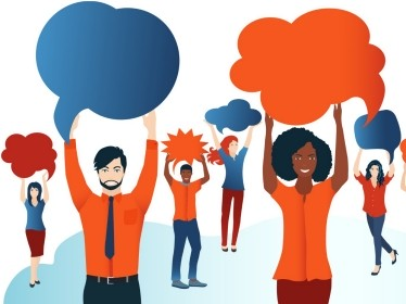 Group of diverse people with speech bubbles, illustration by melita/Adobe Stock