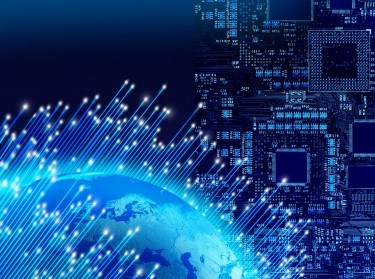 Optical fibres around globe, circuit board background, global digital technology concept
