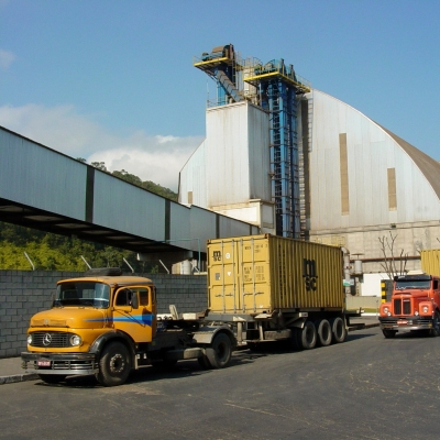 Trucks and port infrastructure, Sao Francisco do Sul, Brazil. July 2006