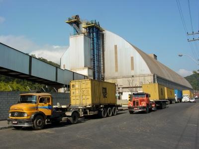 Trucks and port infrastructure, Sao Francisco do Sul, Brazil. July 2006