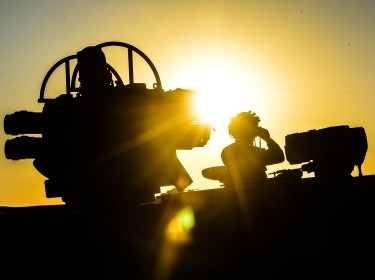 A Stormer vehicle in Silhouette during Ex Javelin, September 2014, photo by Sgt Mark Webster RLC/MOD Open Government Licence