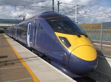 "Class 395 ""Javelin"" high-speed train operated by Southeastern, at Ebbsfleet International"