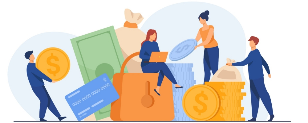 Illustration of people protecting their money, photo by SurfupVector/Adobe Stock