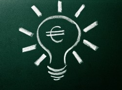 euro in lightbulb