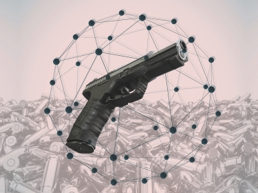 Photo collage of bullets and a gun
