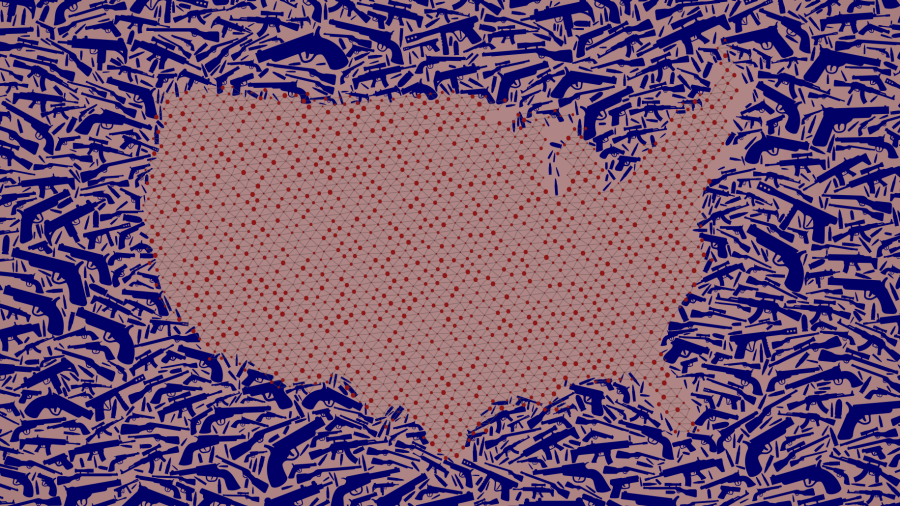 Map of the United States created with guns and dots.