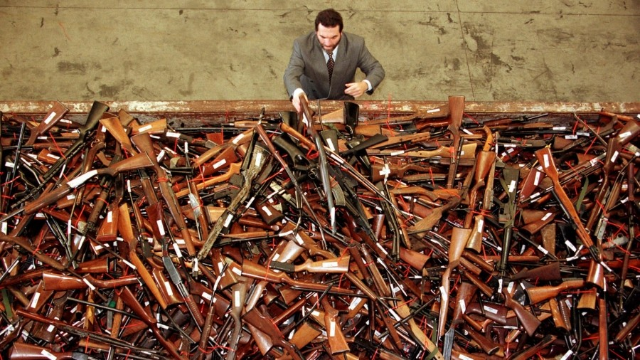 A pile of prohibited firearms that were handed in under the Australian government's buyback scheme, July 1997.