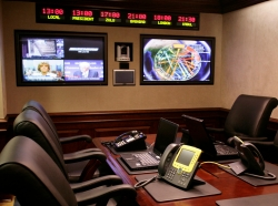 The White House Situation Room in the basement of the West Wing of the White House is seen during a tour in Washington, DC, May 18, 2007