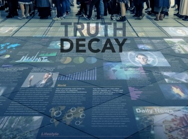Truth Decay title on public space with people and information
