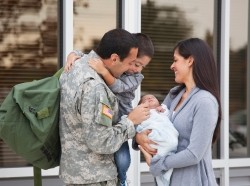 Returning soldier with family