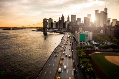 Traffic on a waterfront road in New York City