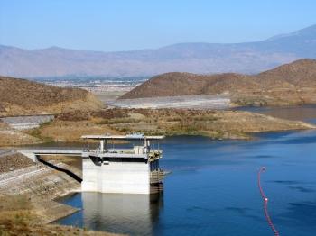 The Saddle dam and I/O tower at Diamond Valley Lake, California