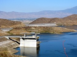 The Saddle dam and I/O tower at Diamond Valley Lake, California