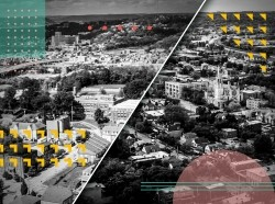A composite image of the neighborhoods of Homewood and Hill District in Pittsburgh, Pennsylvania. Illustration by YaMomzHouse and Haley Okuley / RAND Corporation